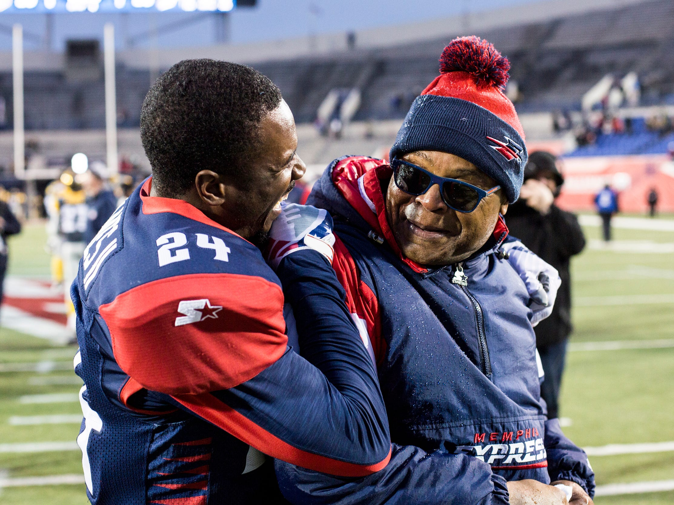 March 02, 2019 - Charles James II, left, and Memphis Express head coach Mike Singletary celebrate after winning Saturday's game against the San Diego Fleet.