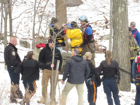 Responders gather on the Parsippany side of the Boonton Reservoir. A body was discovered the the area, authorities said. March 3, 2019