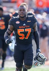 Jan 26, 2019; Mobile, AL, United States; South inside linebacker Deshaun Davis of Auburn (57) before the Senior Bowl at Ladd-Peebles Stadium.