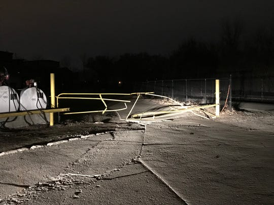 Police said a Muncie man crashed through a gate at McGuff Roofing, 610 E. Wysor St., in a van stolen from the business early Saturday, then caused damage to the Delaware County  jail and High Street United Methodist Church before demolishing a large brick wall along Kilgore Avenue.