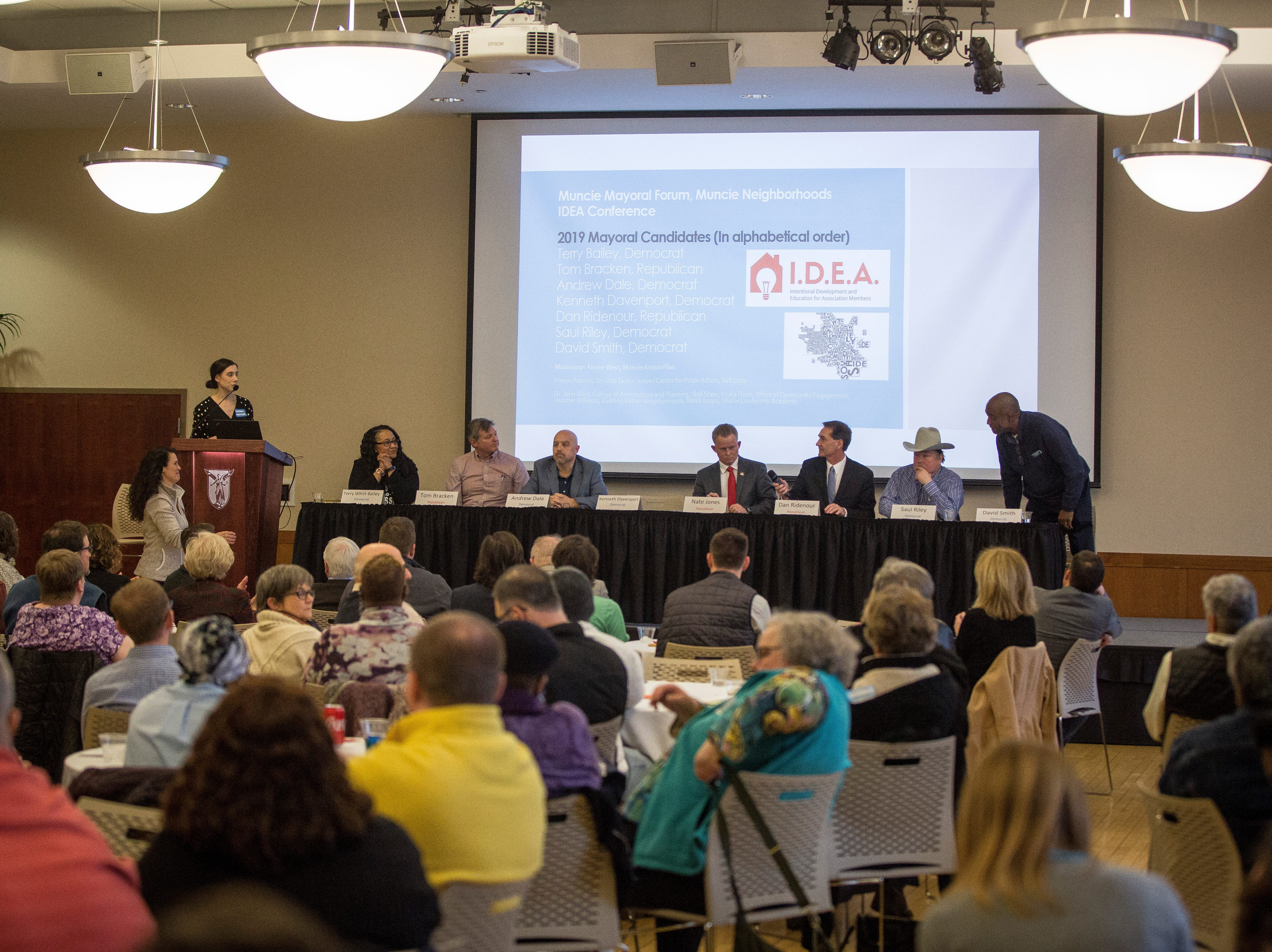 Candidates speak to the public at the Muncie Mayoral Forum at the IDEA conference on Saturday, March 2 inside the Ball State's student center.