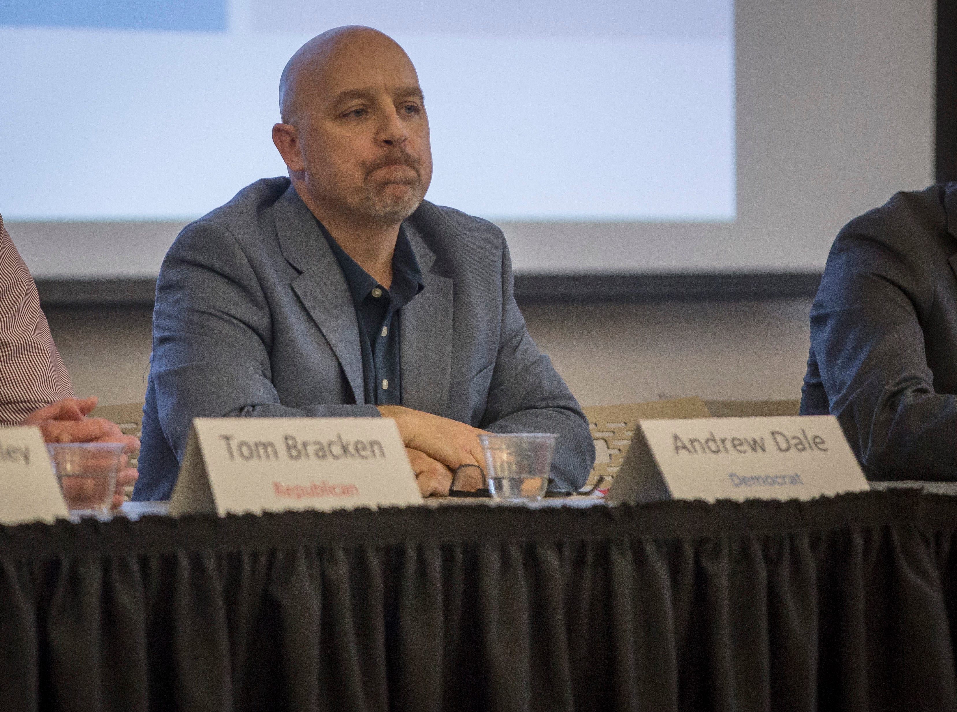 Andrew Dale listens to the questions during the Muncie Mayoral Forum at the IDEA conference on Saturday, March 2 inside the Ball State's student center.