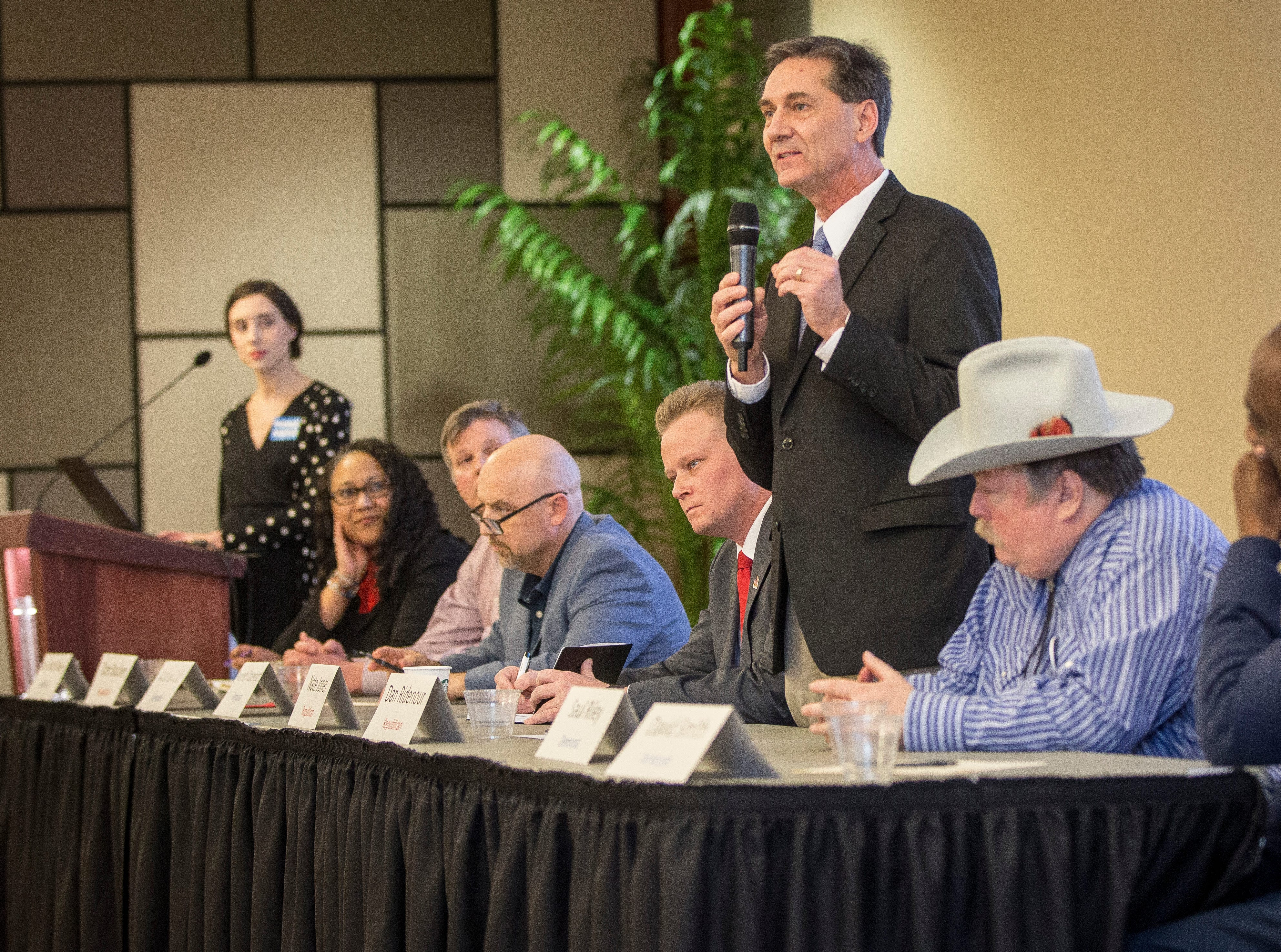 Dan Ridenour speaks to the public at the Muncie Mayoral Forum at the IDEA conference on Saturday, March 2 inside the Ball State's student center.