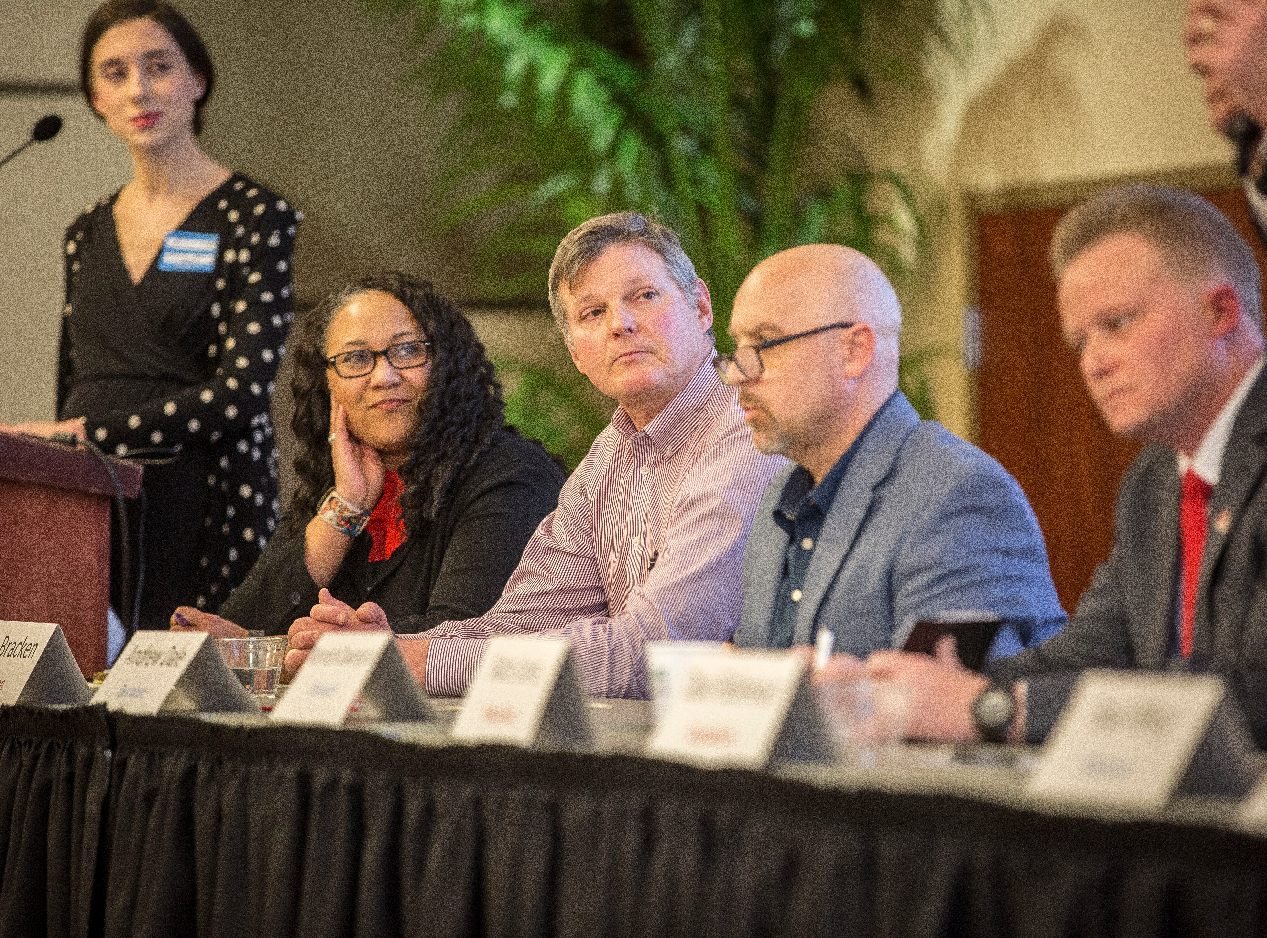 Mayoral hopefuls (r-l) Nate Jones, Andrew Dale, Tom Bracken and Terry Whitt Bailey appear at the IDEA Conference in early May at Ball State University.