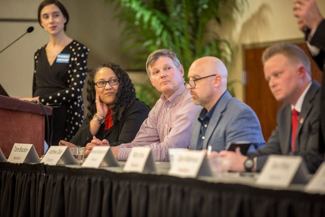 Muncie mayoral hopefuls, right to left, Nate Jones, Andrew Dale, Tom Bracken and Terry Whitt Bailey appear at an IDEA conference together in early March.