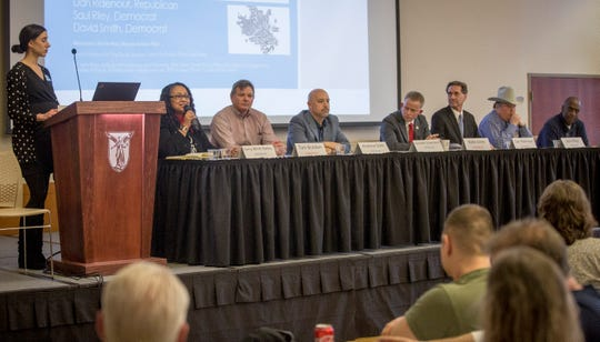 Seven of the eight candidates for mayor take center stage at the Muncie Mayoral Forum at the IDEA conference on Saturday, March 2 inside Ball State's student center.