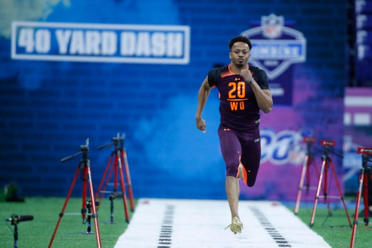 Missouri wide receiver Emanuel Hall runs the 40-yard dash March 2, 2019, during the 2019 NFL Combine at Lucas Oil Stadium.