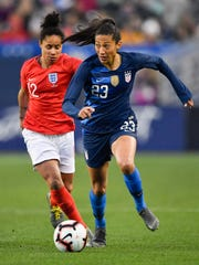 Christen Press (23) is one of three Utah Royals FC players competing for the United States Women's National Team in France for the 2019 FIFA Women's World Cup.