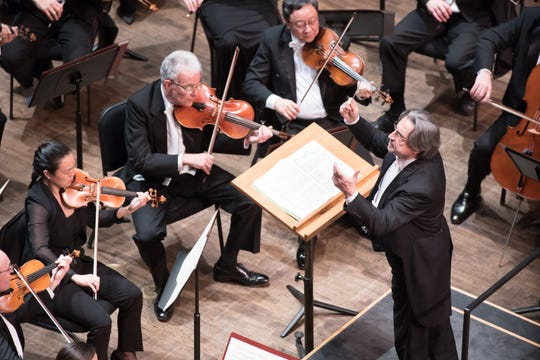 Maestro Riccardo Muti conducts the Chicago Symphony Orchestra in concert Saturday, March 2, 2019, at Artis—Naples in Naples, Florida.