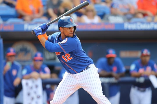 Juan Lagares is shown at-bat against the Astros, Saturday, March 2, 2019.