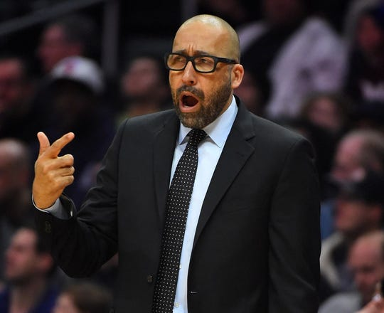 New York Knicks head coach David Fizdale in the first half of the game against the Los Angeles Clippers at Staples Center.