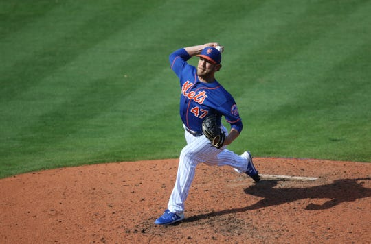 Drew Gagnon pitches for the Mets, Saturday, March 2, 2019.