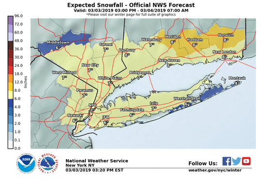 The snowfall forecast from the National Weather Service as of 4 p.m. Sunday.