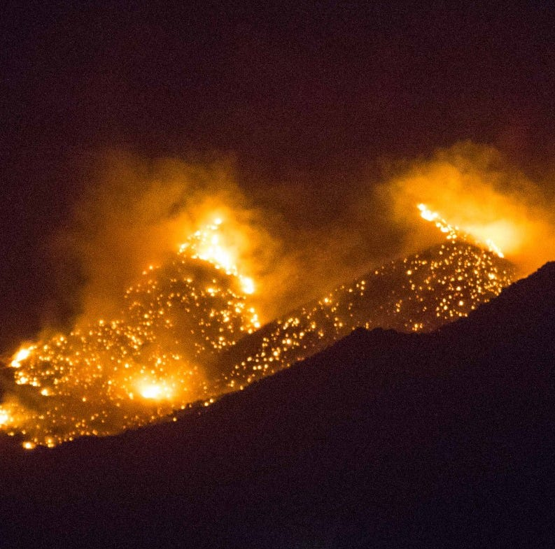 Crews working to contain Baylor Canyon Fire