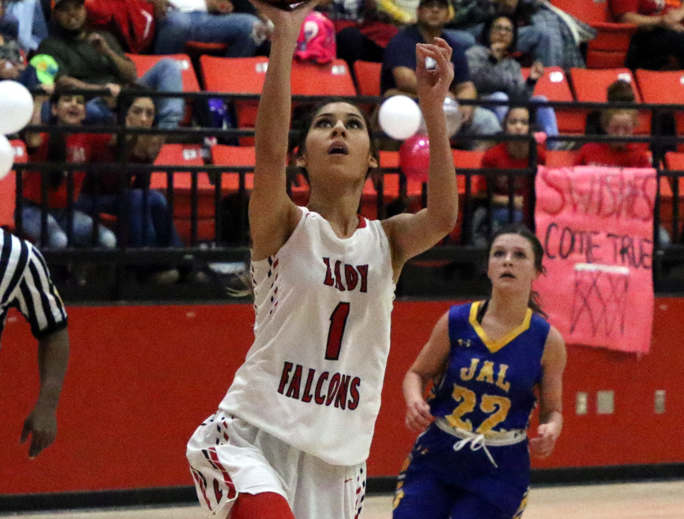Yara Franco gets a layup against Jal during Saturday's Class 4-2A district title game. She led all scorers with 18 points.