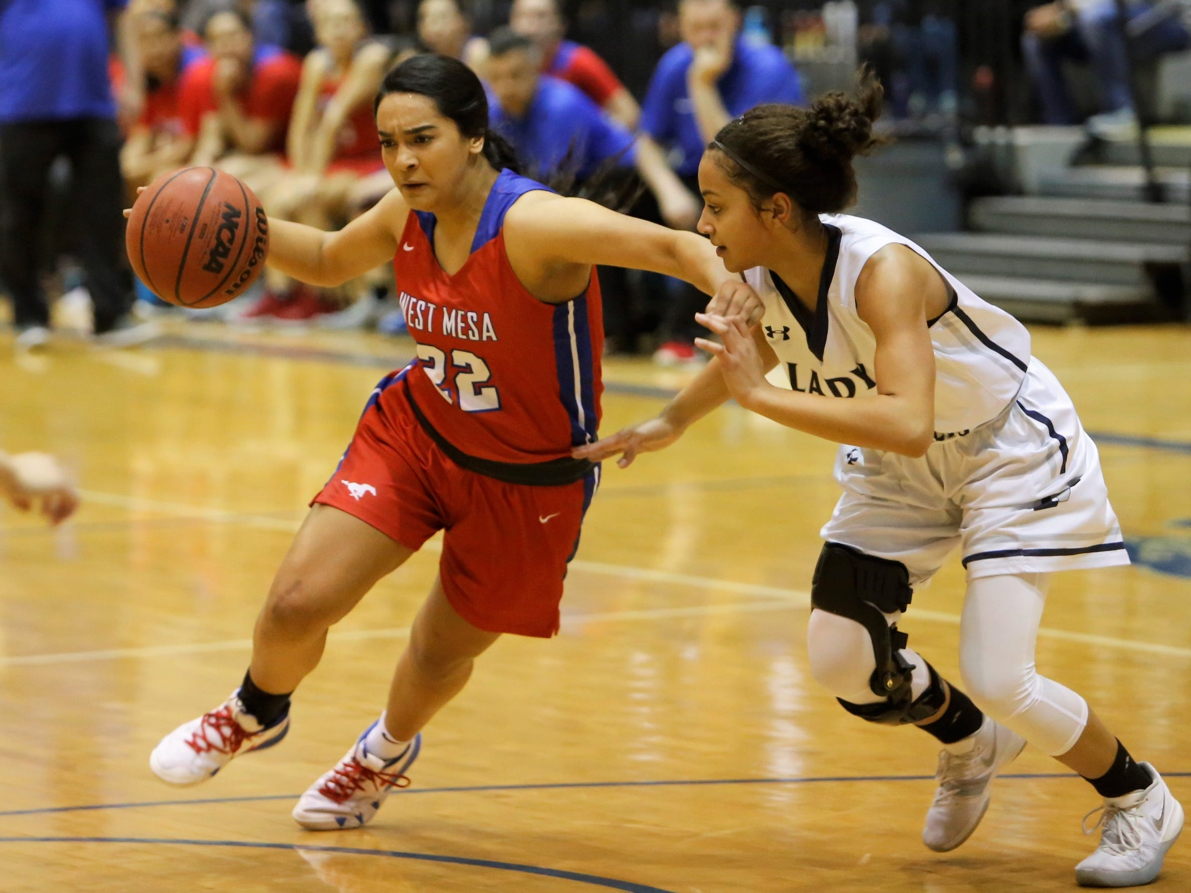 West Mesa's Cece Barela attacks the basket against Piedra Vista's Elaina Watson during Saturday's District 2-5A tournament championship game at Jerry A. Conner Fieldhouse in Farmington.