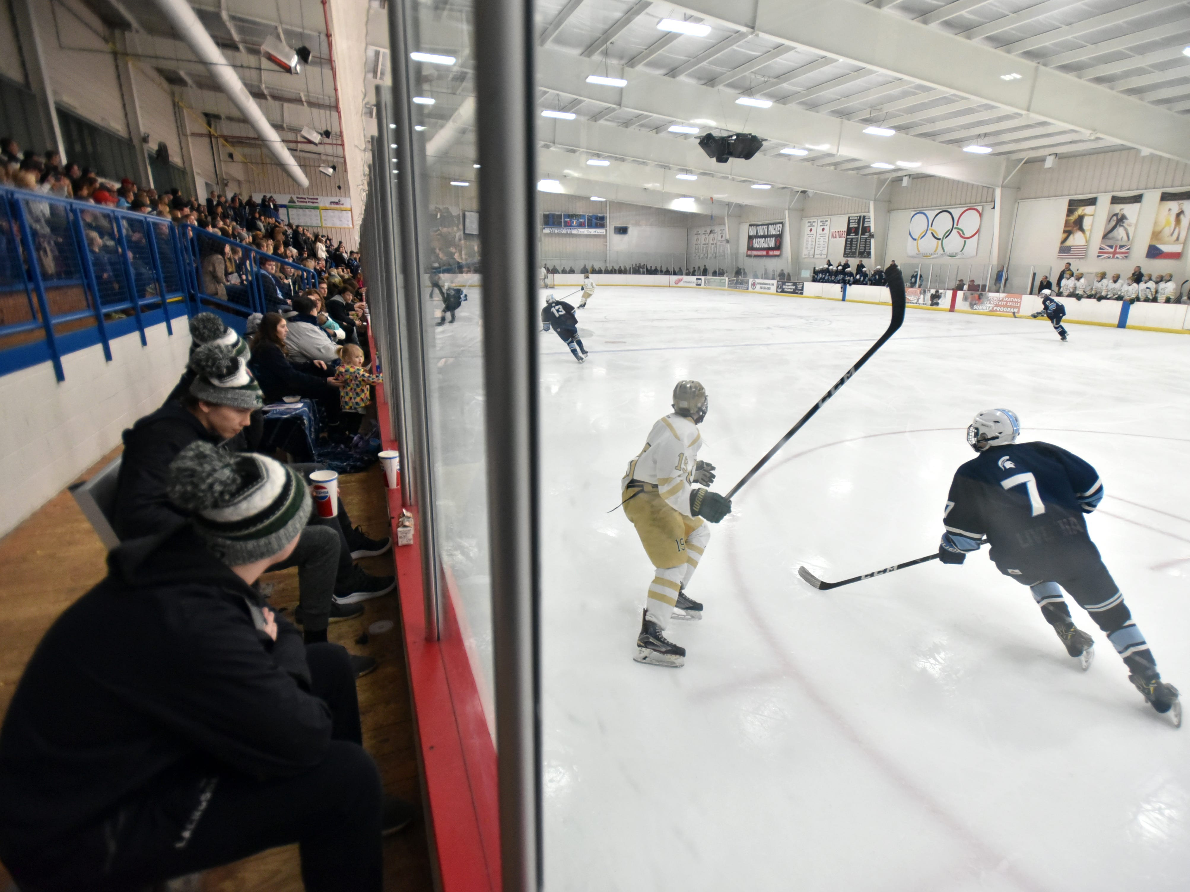 Spartans and Highlanders skate at the Novi Ice Arena on March 2.