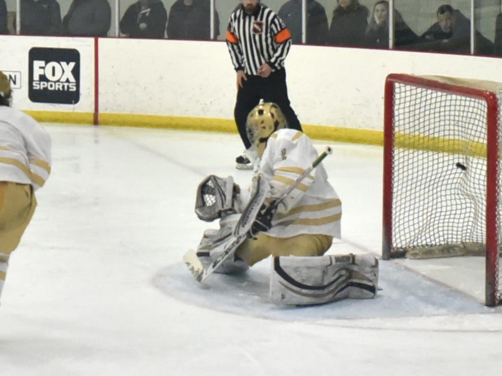 Spartan Patrick McGowan sends this shot over the shoulder of Howell goalie Ethan Ryan for Livonia's second goal.