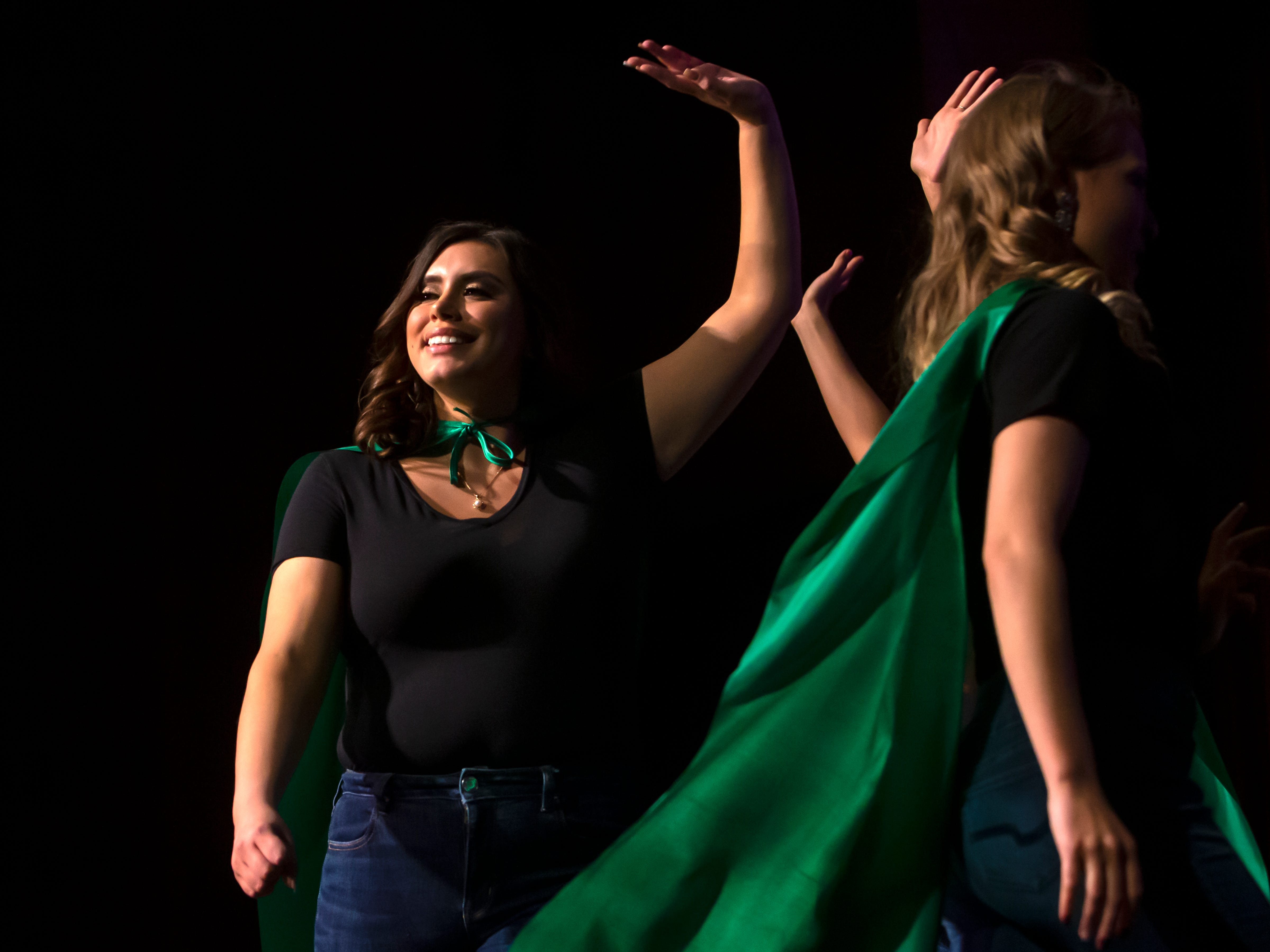 Anastacia King waves to the crowd during the Miss Oshkosh Scholarship Pageant Saturday, March 2, 2019, at Alberta Kimball Auditorium in Oshkosh, Wis.