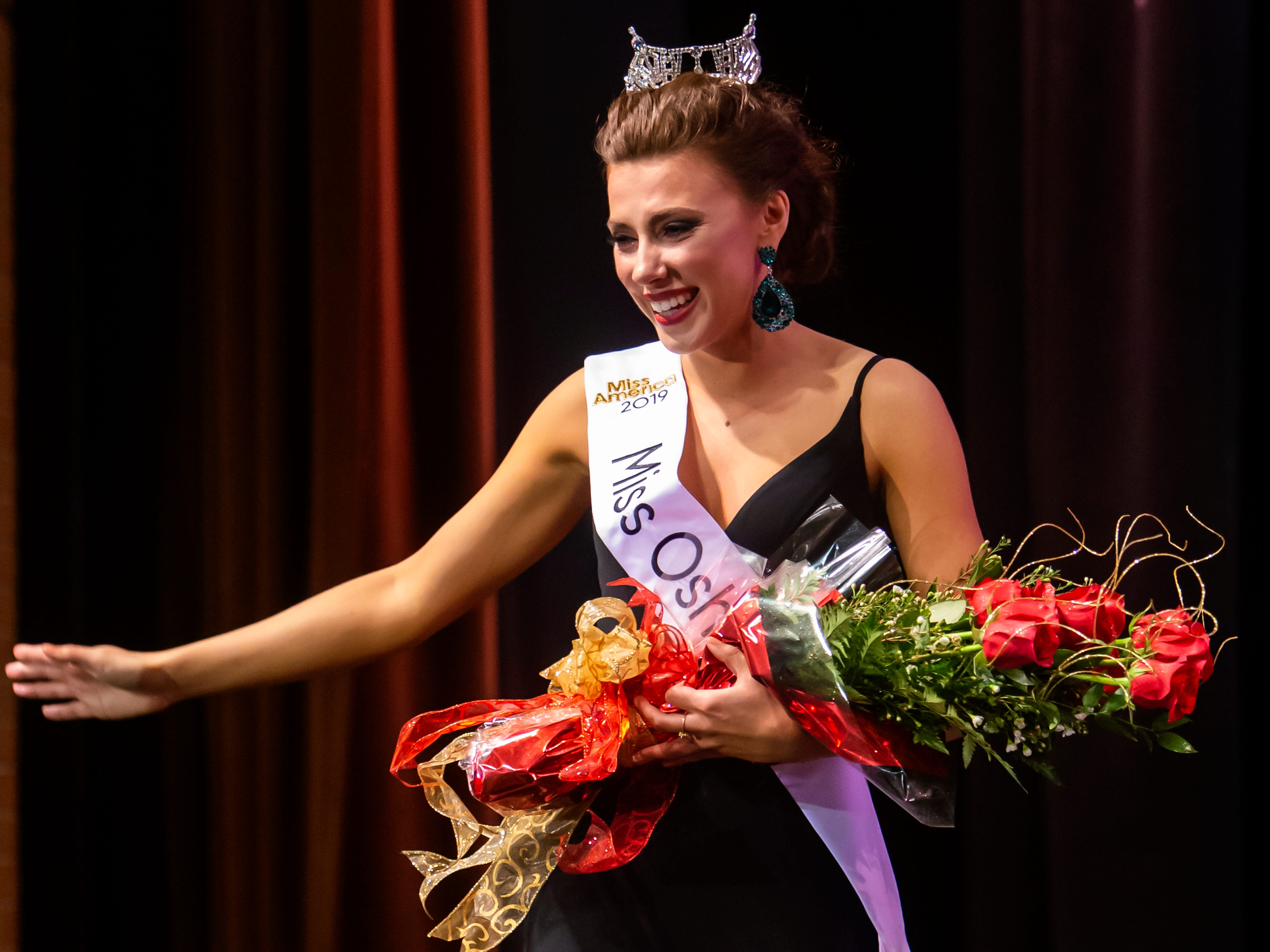 Katrina Mazier wins the Miss Oshkosh title during the Miss Oshkosh Scholarship Pageant Saturday, March 2, 2019, at Alberta Kimball Auditorium in Oshkosh, Wis.