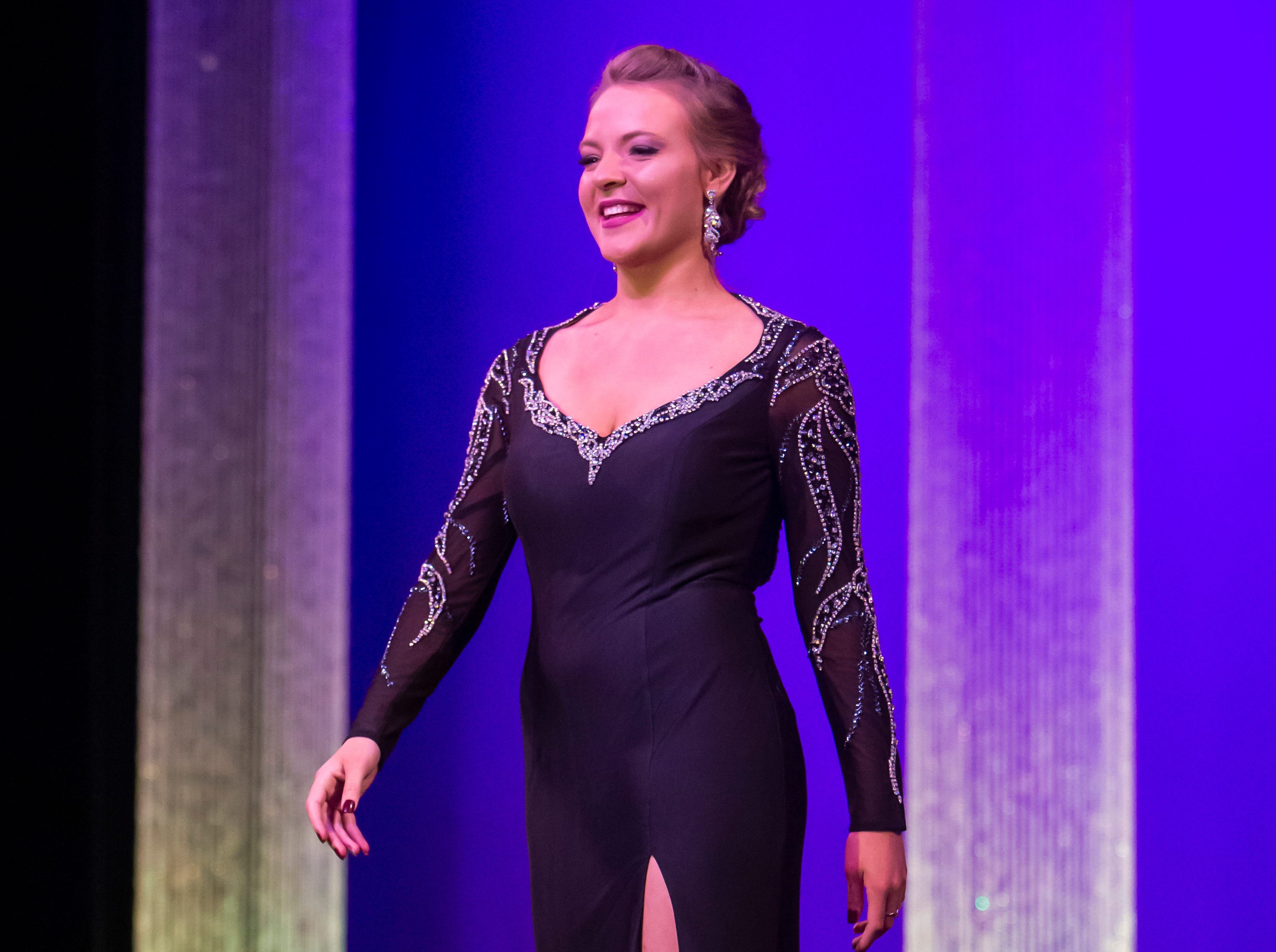 Shauna Clemens wins 3rd runner up during the Miss Oshkosh Scholarship Pageant Saturday, March 2, 2019, at Alberta Kimball Auditorium in Oshkosh, Wis.