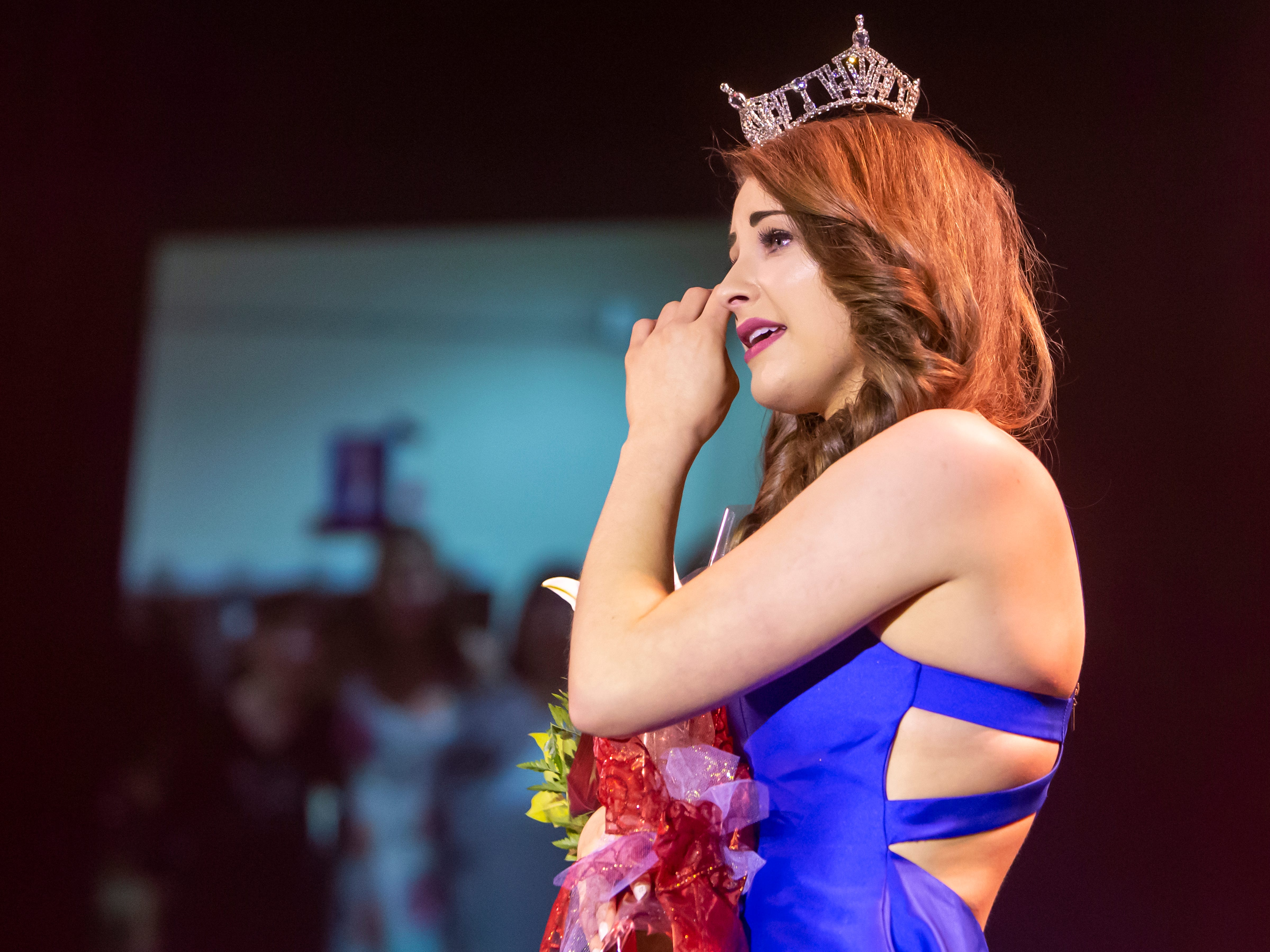 Miss Oshkosh 2018 Kate Lidtke wipes away tears during her farewell during the Miss Oshkosh Scholarship Pageant Saturday, March 2, 2019, at Alberta Kimball Auditorium in Oshkosh, Wis.