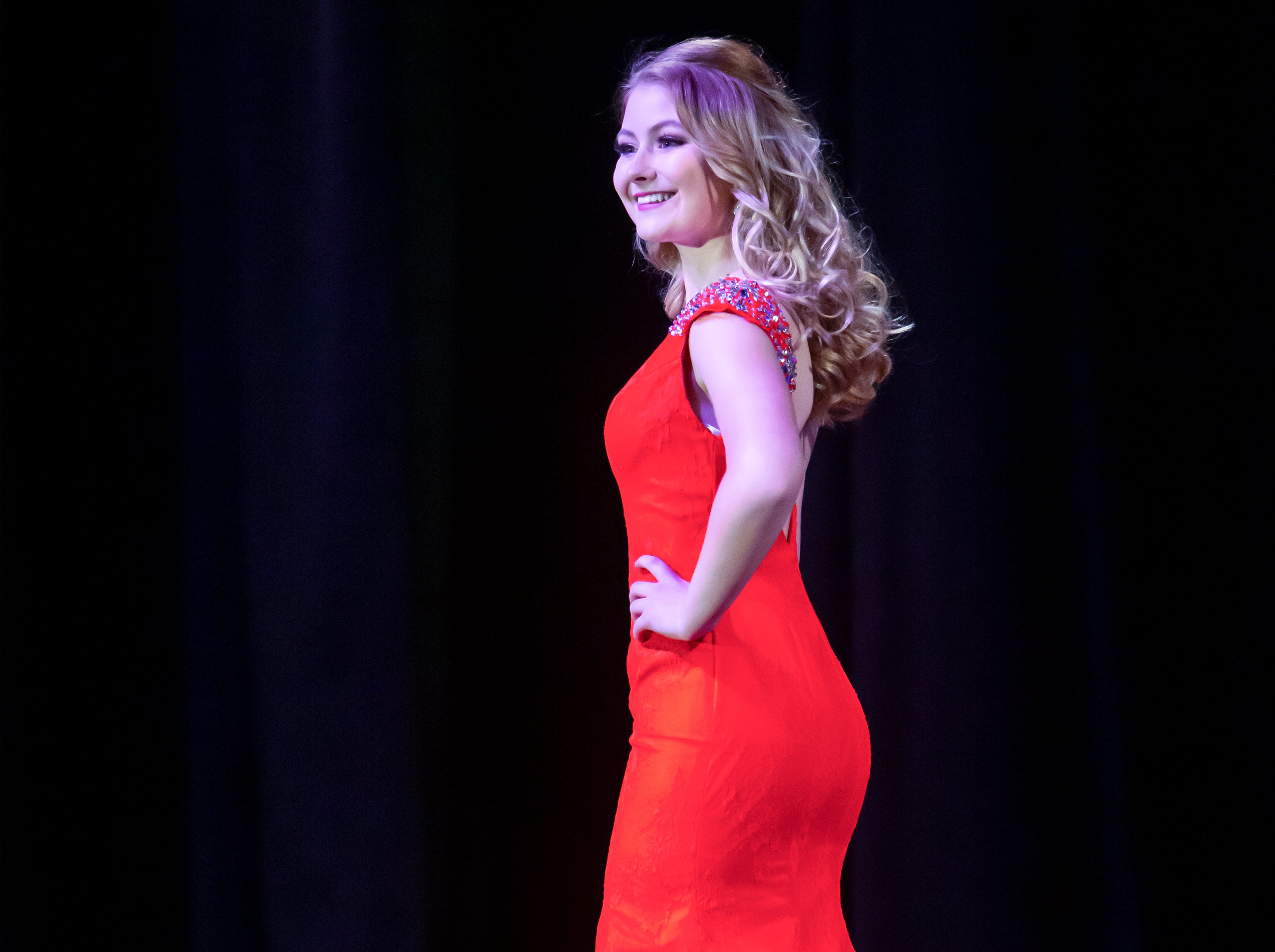 Isabella Garvey wins 4th runner up during the Miss Oshkosh Scholarship Pageant Saturday, March 2, 2019, at Alberta Kimball Auditorium in Oshkosh, Wis.
