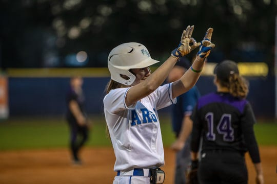 UWF senior outfielder Rachel Wright celebrates a base hit in an undated photo from the 2019 season.