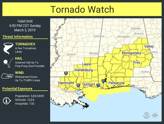 The National Weather Service in Mobile, Alabama, issued the tornado watch for parts of Alabama, Florida, Louisiana and Mississippi until 6 p.m.