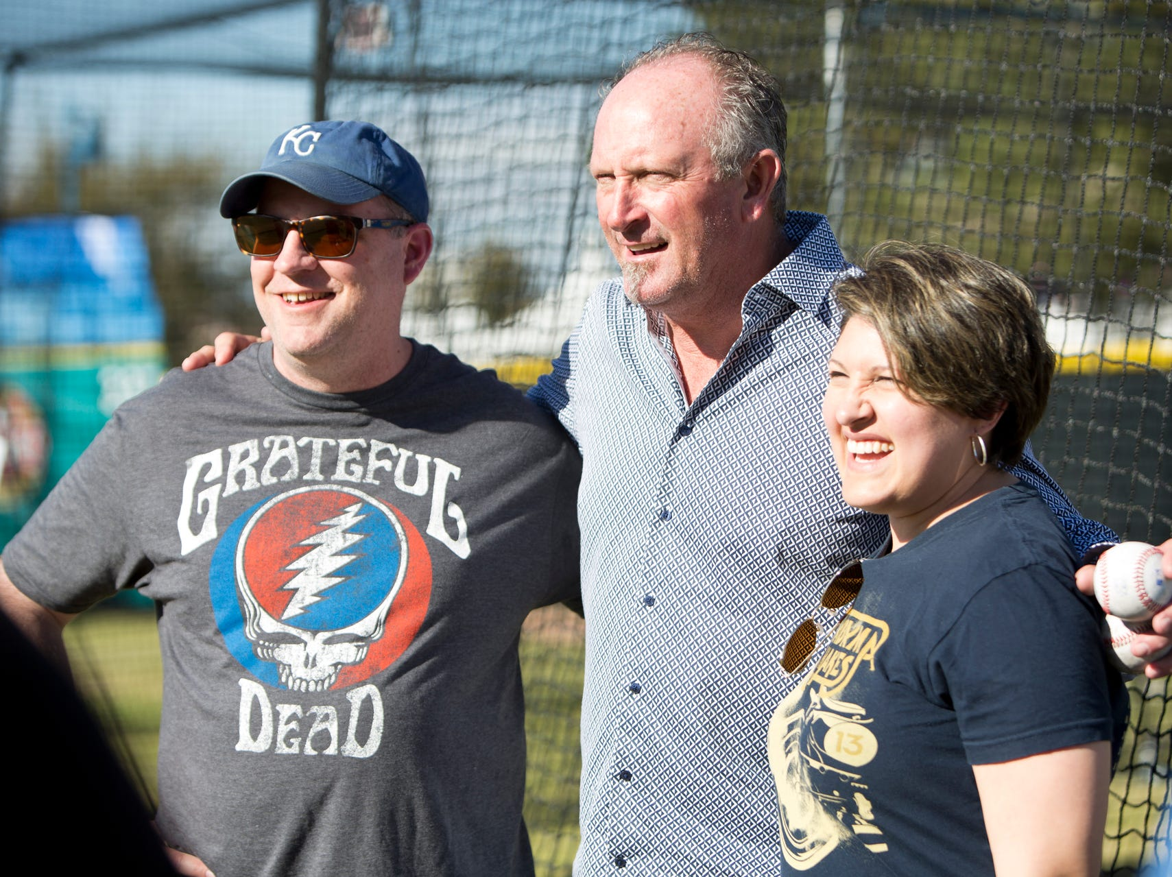 Bret Saberhagen poses with fans for a photo during the Innings Festival on March 2, 2019, at Tempe Beach Park.