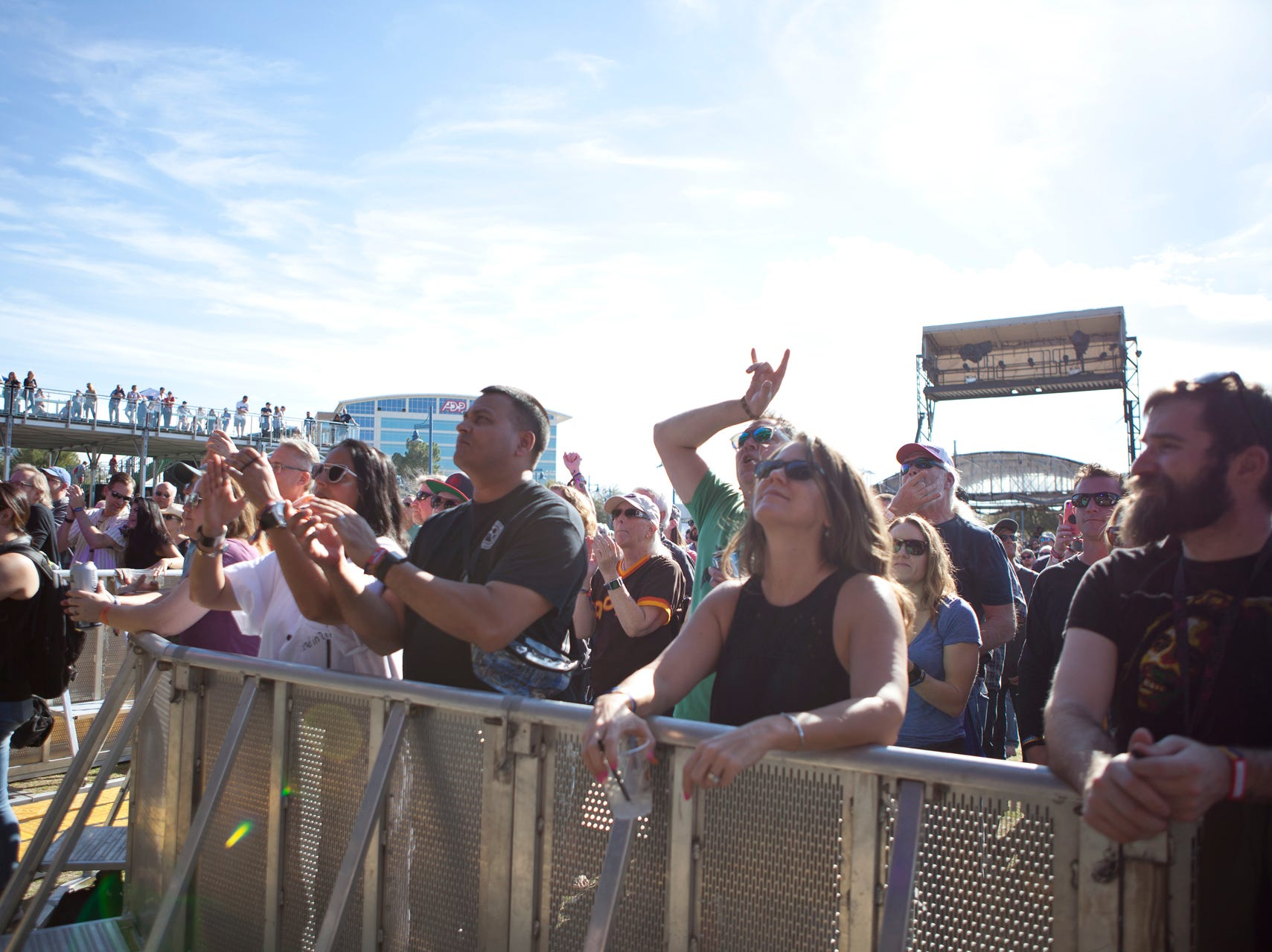 Fans watching Roger Clyne and The Peacemakers perform during the Innings Festival on March 2, 2019, at Tempe Beach Park in Tempe.