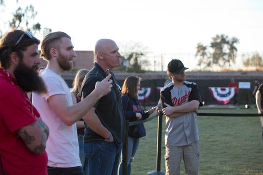 Matt Williams coaches a fan at the batting cages during the Innings Festival on March 2, 2019, at Tempe Beach Park.