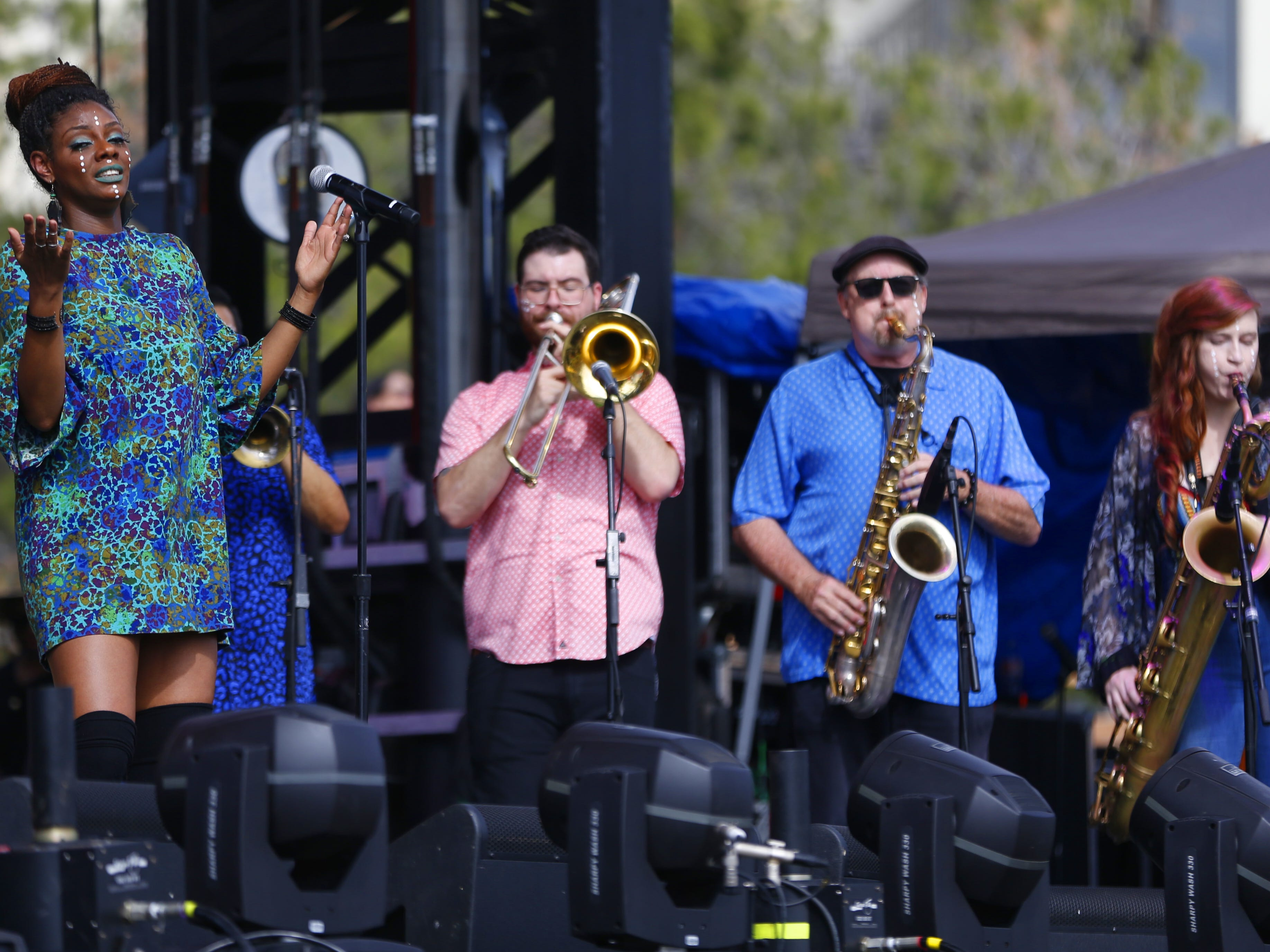 Phoenix Afrobeat Orchestra performs in the afternoon during the McDowell Mountain Music Festival in Phoenix, Ariz. on March 2, 2019.