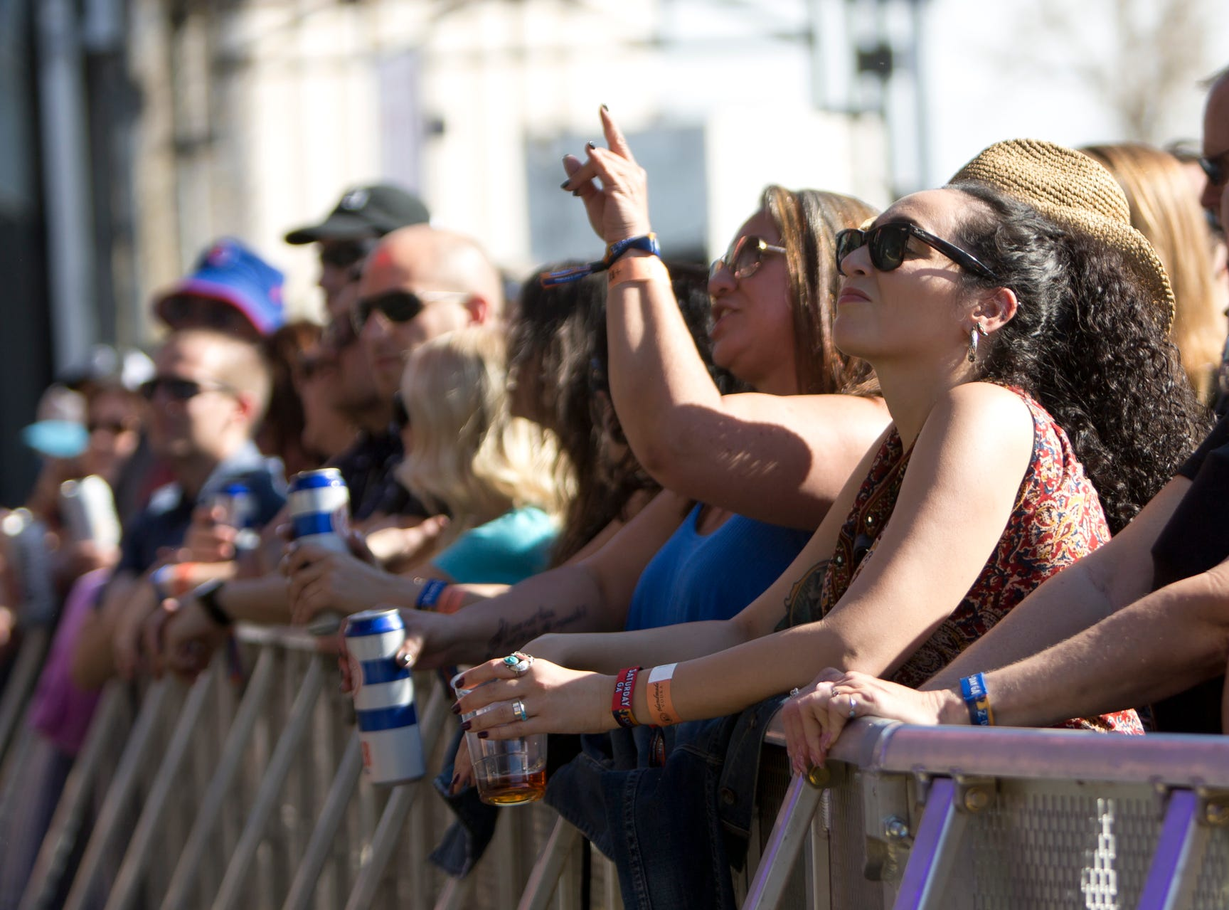 Fans sing along as Roger Clyne and The Peacemakers perform during the Innings Festival on March 2, 2019, at Tempe Beach Park in Tempe.