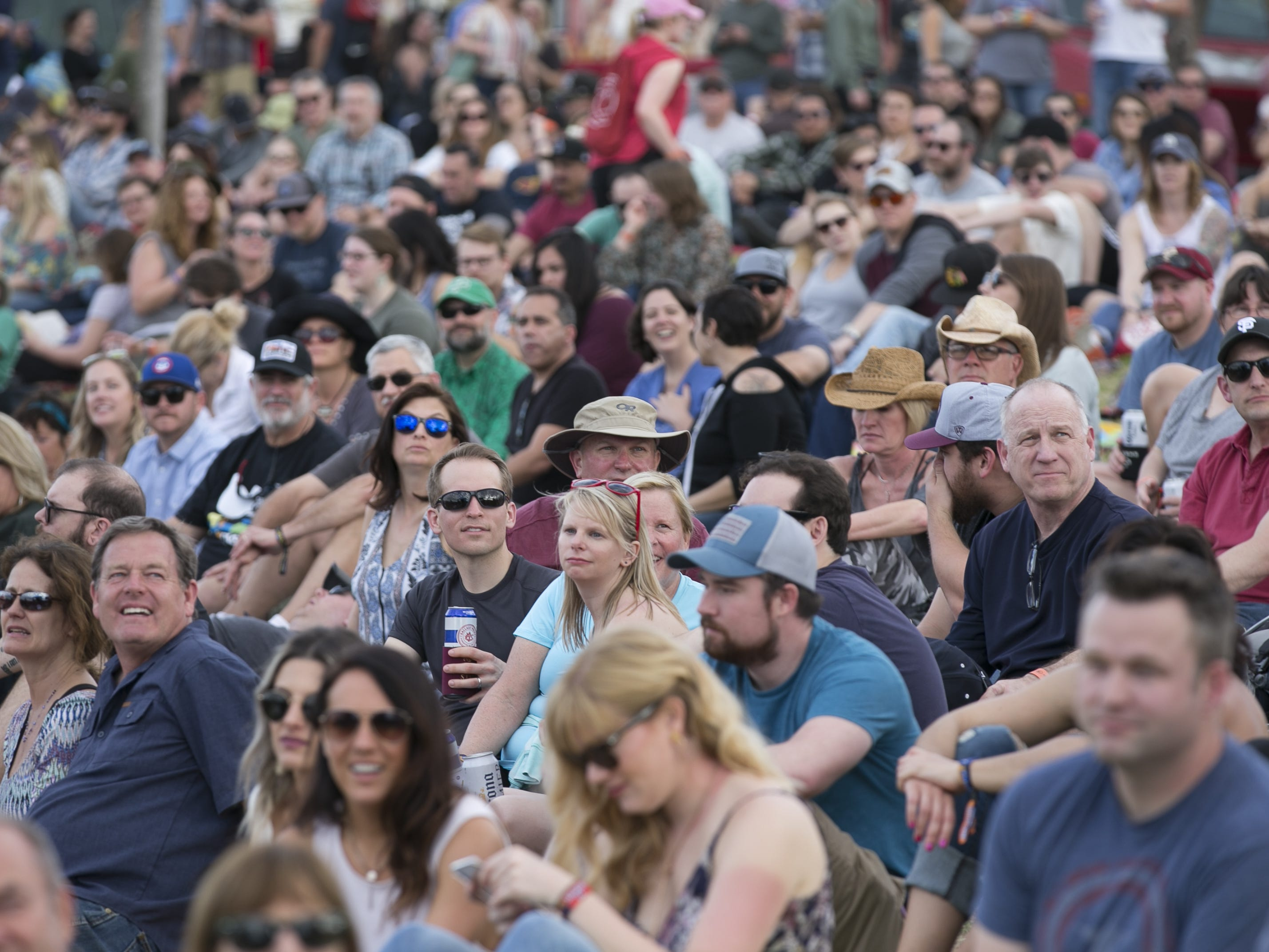 Fans watch Guster perform at the Innings Festival at Tempe Beach Park in Ariz. on Saturday, March 2, 2019.