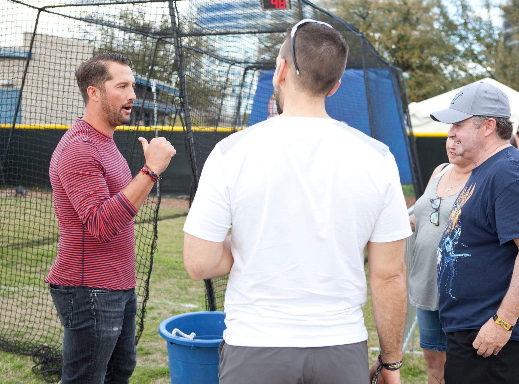Huston Street tells fans a story during the Innings Festival on March 2, 2019, at Tempe Beach Park in Tempe.