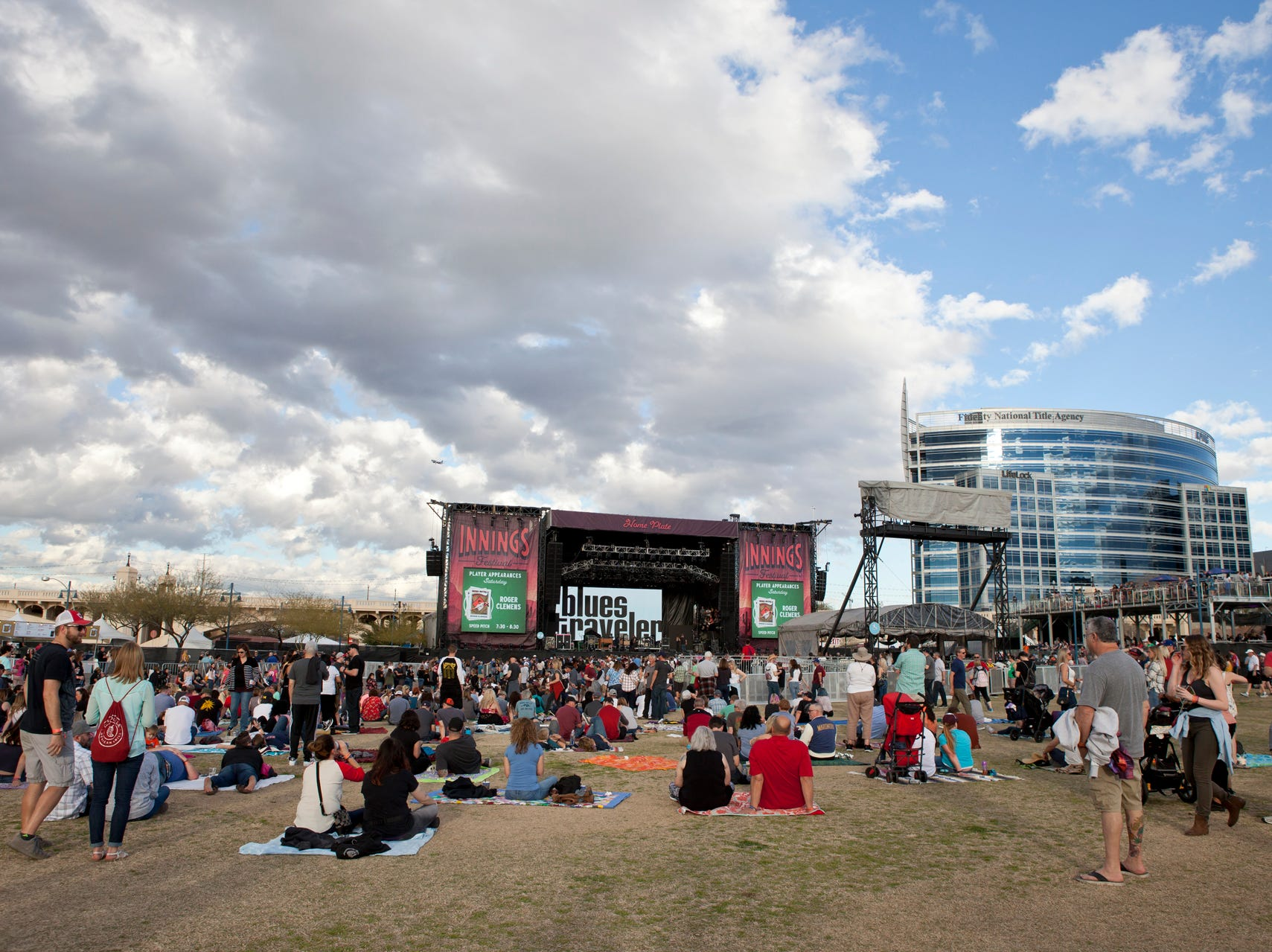 The crowd begins to gather for Blues Traveler at the Innings Festival on March 2, 2019, at Tempe Beach Park in Tempe.