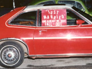 "Friends decorated Stephanie and James Merrifield's car with a sign that read, ""Just Married and Already We Have Fall-Out"" in March of 1979. The couple was wed in York on March 31, 1979, three days after the nuclear accident at Three Mile Island."