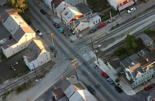 This aerial view shows where railroad tracks cross Newberry Street in York. Lillie Belle Allen, visiting York, was slain when the car she was riding in stalled on those tracks. Police officer Henry C. Schaad also died from a gunshot wound sustained a few blocks away in the same rioting in 1969.