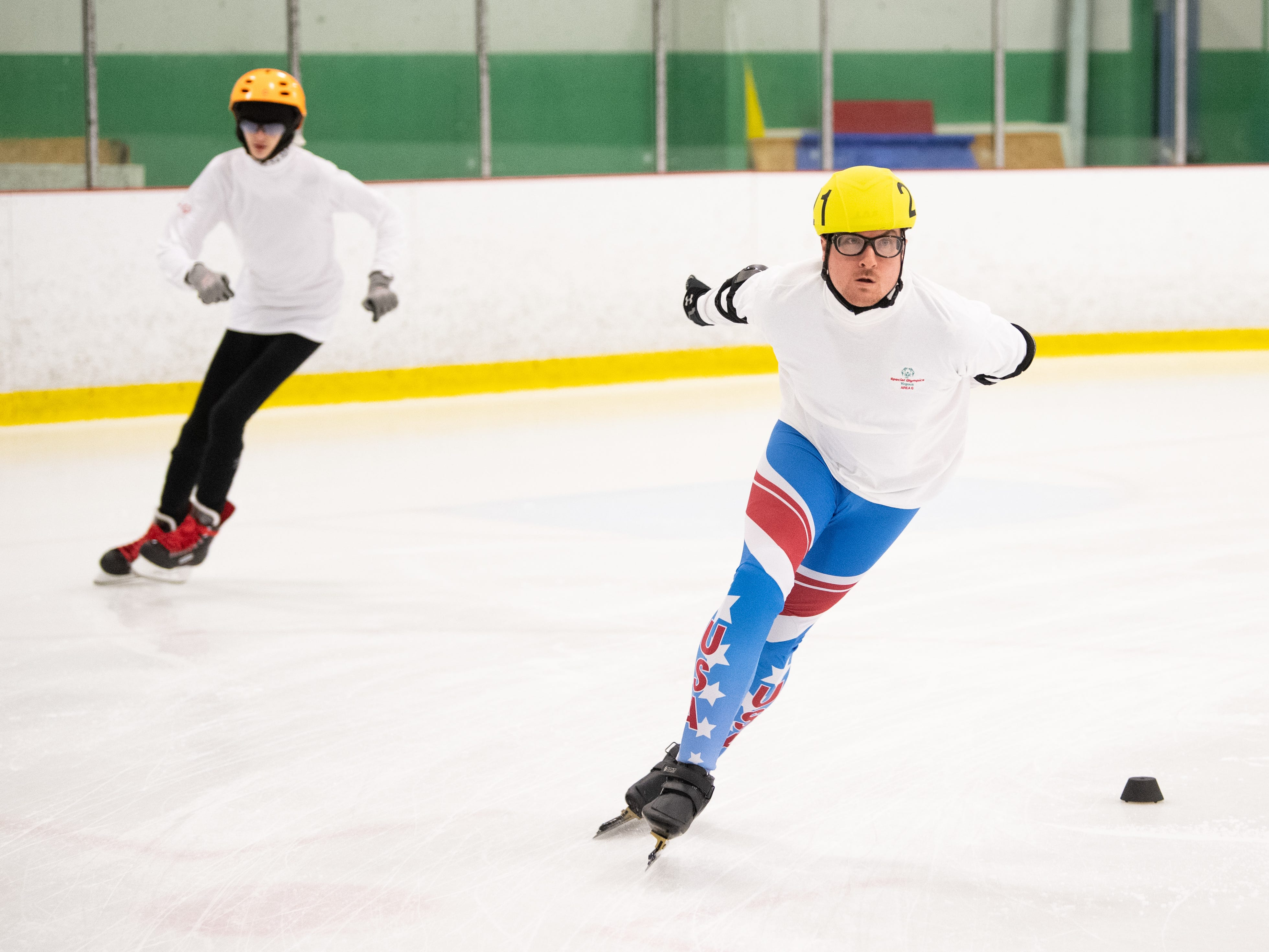 Special Olympic athletes compete in the speed skating preliminaries during the Pennsylvania Indoor Winter Games, March 2, 2019.