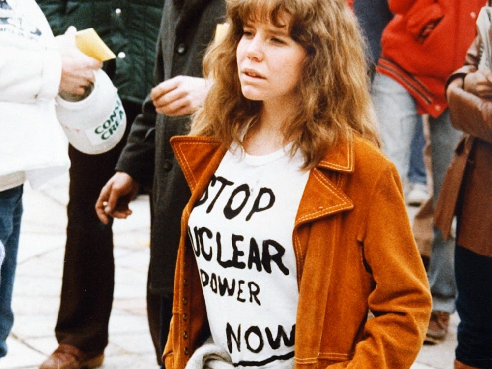 A woman protests nuclear power after the near meltdown at Three Mile Island in 1979.