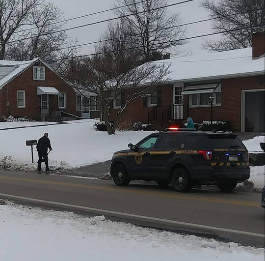 "A Northern York County Regional Police officer stopped to help shovel the driveway of a woman on Hanover Road in Jackson Township recently. Lisa Lauchman, who snapped the pic, wrote on Facebook, ""Not quite sure I ever seen anything like this before but this police officer went above and beyond Call of Duty not sure who he was but he was in Spring Grove today you can see there's an elderly woman in the background he stopped to help shovel her driveway again I'm not sure who he is but thank you for doing that out of the kindness of your heart."""