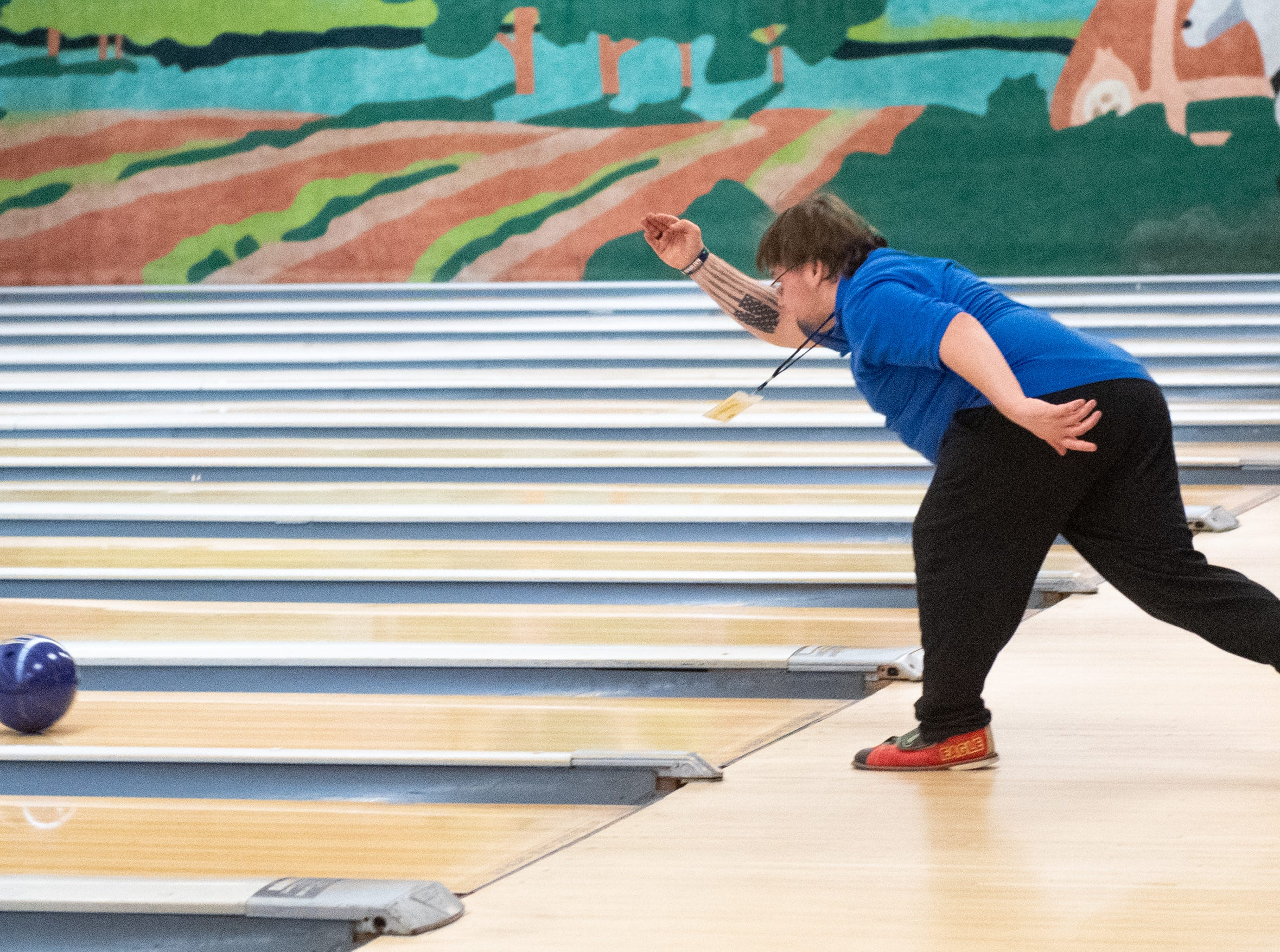 Bowling athletes have the choice of competing by themselves in the singles tournament or with a friend in the teams tournament, March 2, 2019.
