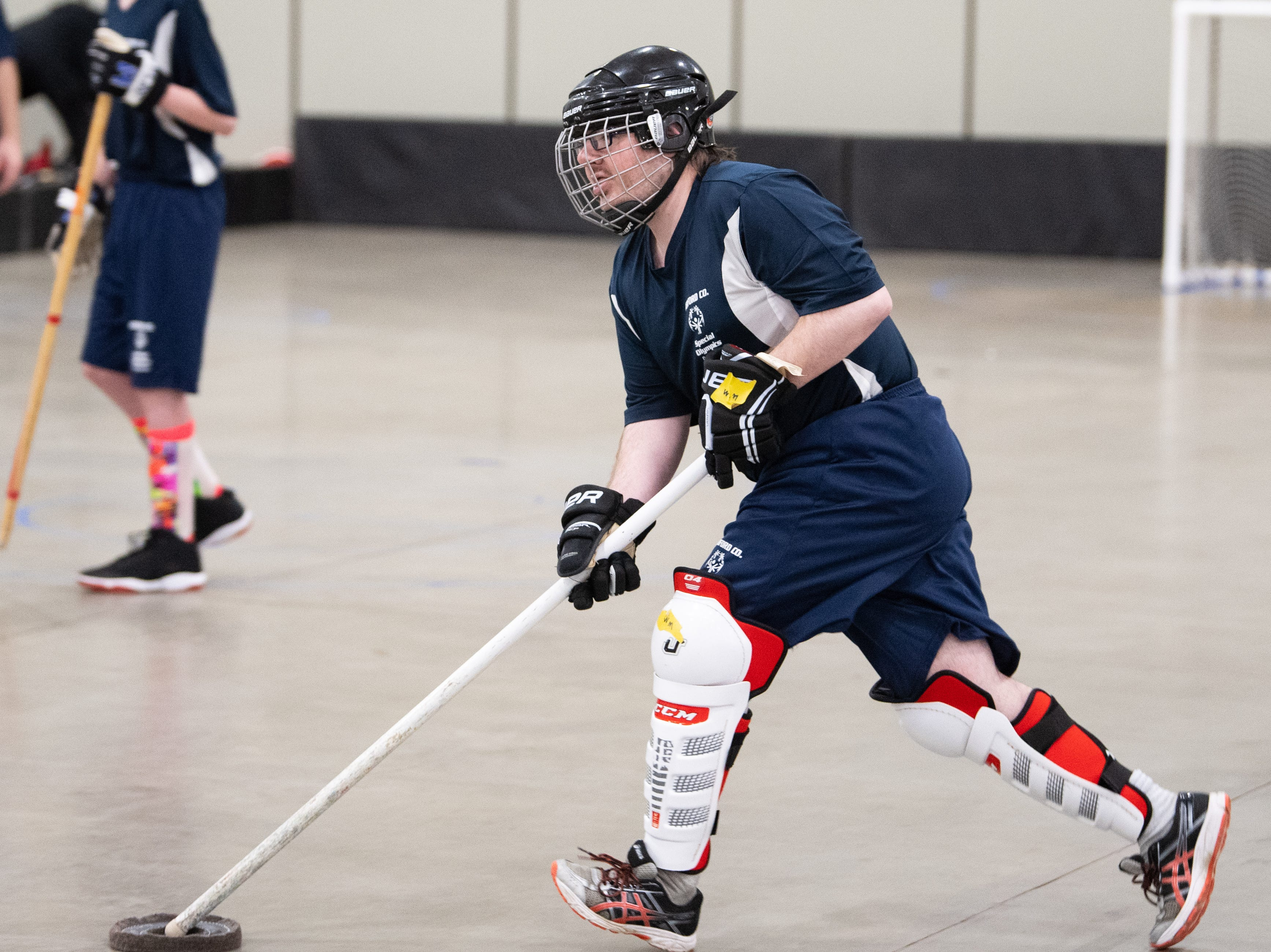 After the floor hockey preliminary rounds, teams take turns practicing on one of the three rinks during the Special Olympics Pennsylvania Indoor Winter Games, March 2, 2019.