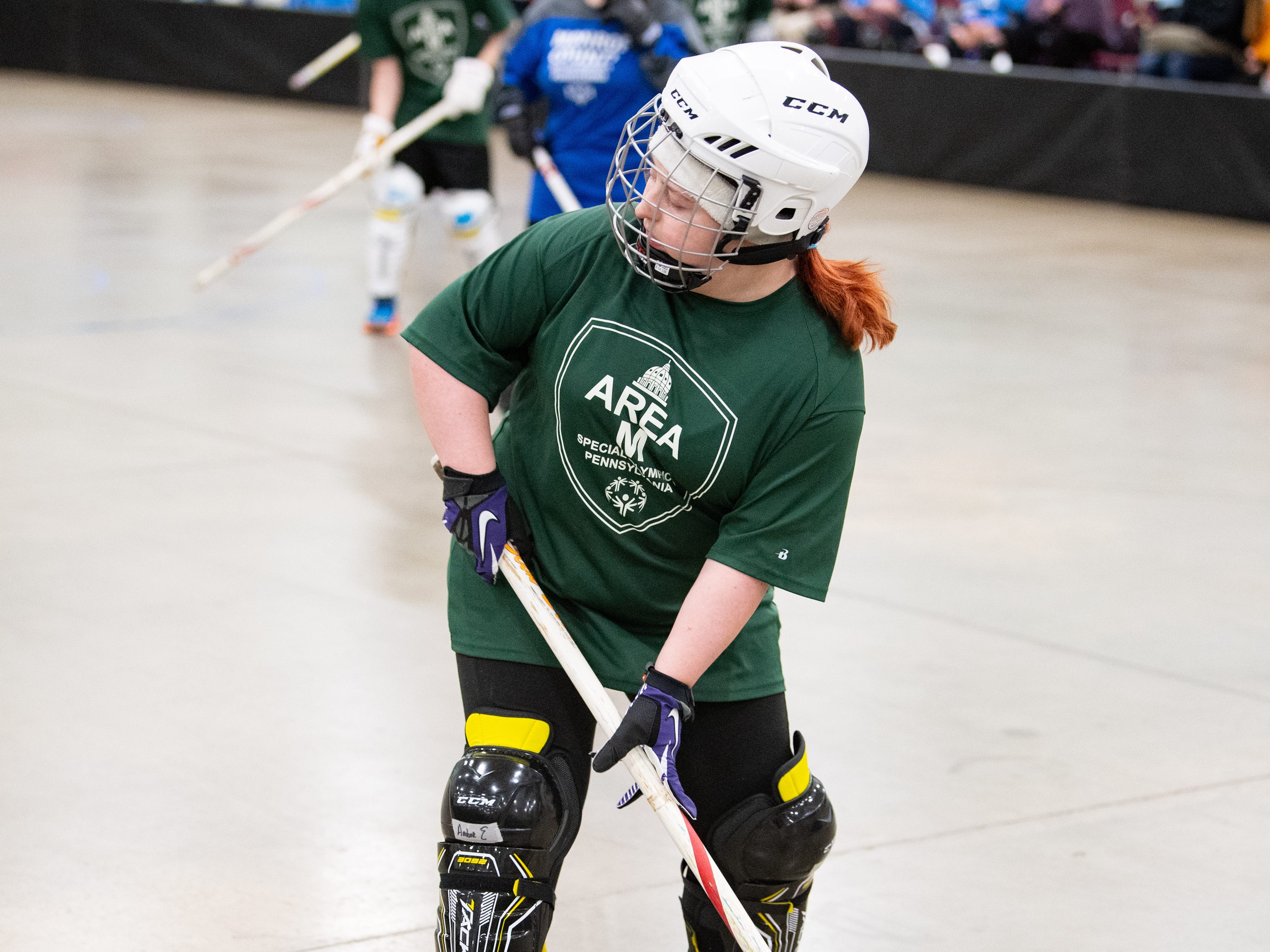 The floor hockey preliminaries are held in the York Expo Center where there's plenty of space to move, March 2, 2019.