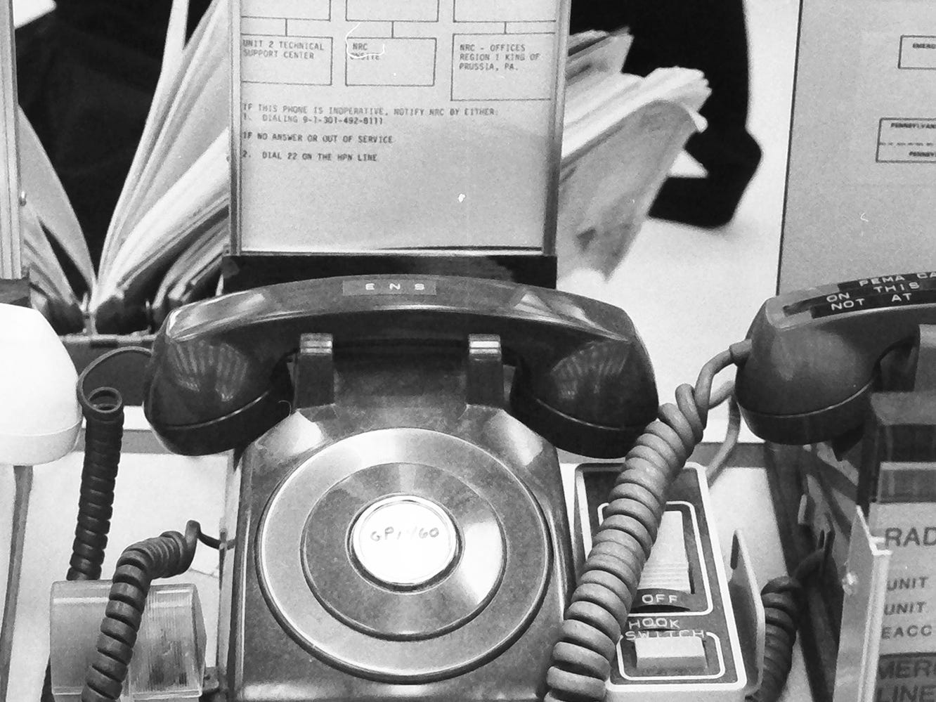 This is an undated photo of a phone used in the event of emergencies at the Three Mile Island power plant.