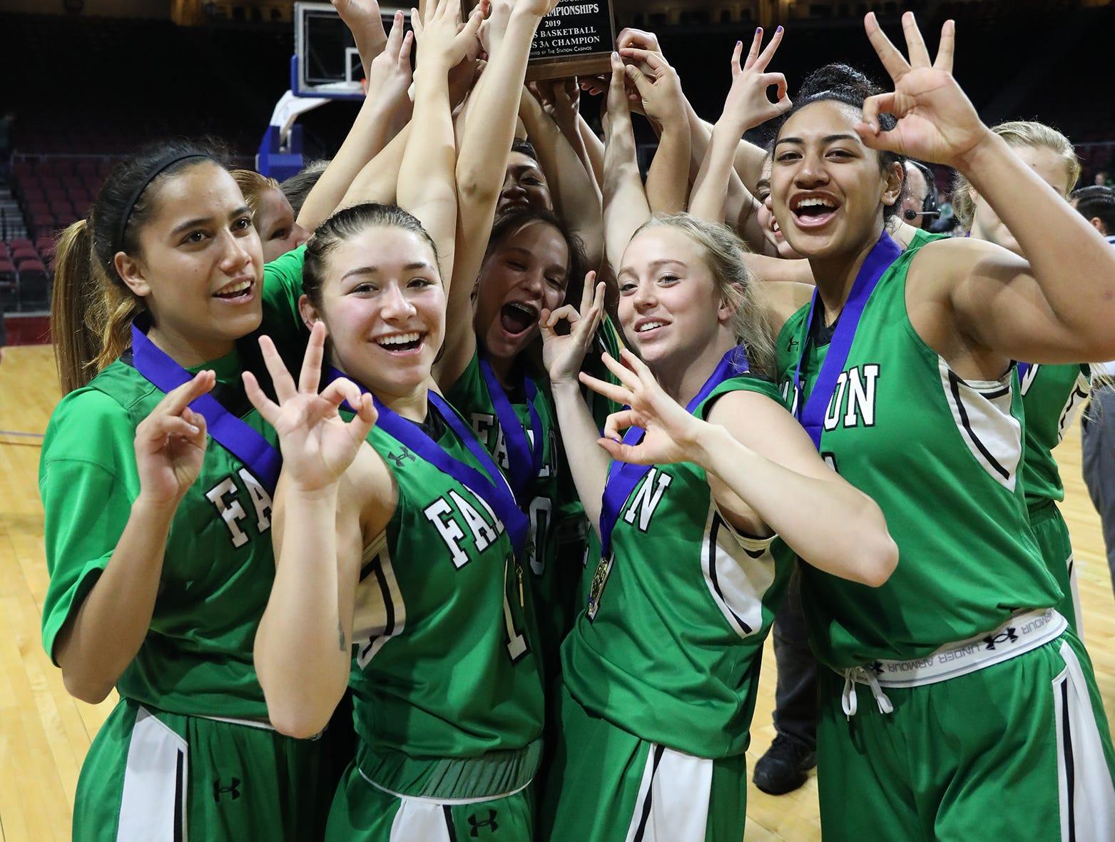 The Fallon girls basketball team won its third straight state championship on Saturday.