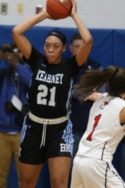 Bishop Kearney's Saniaa Wilson looks to pass. A 6-foot sophomore, Wilson already has offers from 20 Division I colleges.