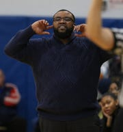 Bishop Kearney Head Coach Kevan Sheppard yells out instructions to his team.