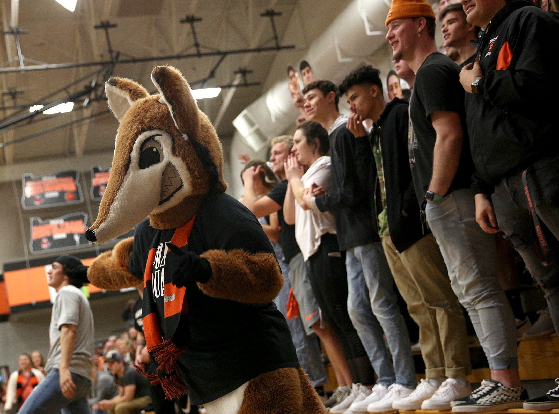 The Silverton Fox cheers on his team during the Silverton vs. Springfield boys basketball OSAA state playoffs game at Silverton High School in Silverton on Saturday, March 2, 2019.
